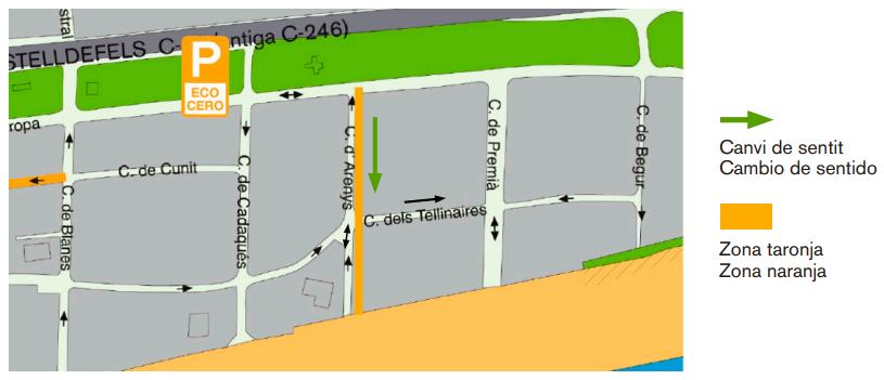 Cambio de sentido y restricción al tráfico de la calle Arenys (excepto los vados)